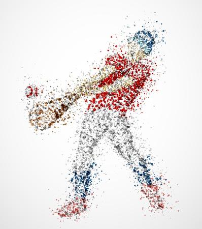 baseball player: Abstract baseball player, kick the ball