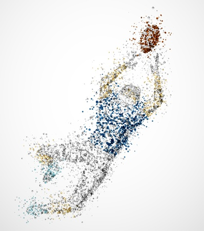team effort: Abstract american football player, jump for ball