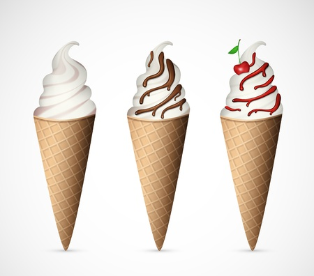 Set of three ice cream different flavors Vector