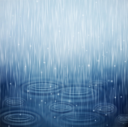 Achtergrond met regen en golven op de druppels Vector Illustratie