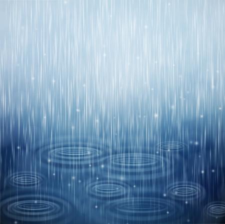Arrière-plan avec la pluie et les vagues sur les gouttes Vecteurs