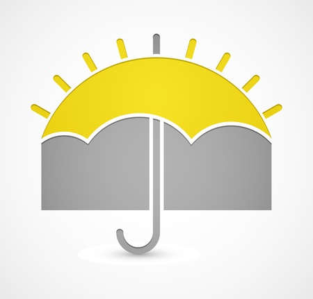 Icon with umbrella or sun on theme weather Vector
