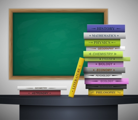 classroom chalkboard: Books of different school disciplines on the desk, behind the blackboard