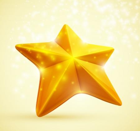 첫날: 황금 별의 3D 기호 10 EPS