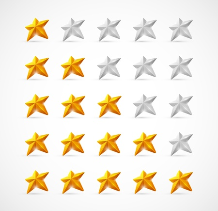 Ratings with 3D stars  Eps 10 Stock Vector - 14397558