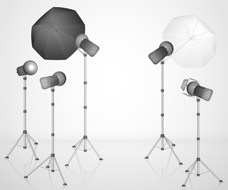 strobe light: Photo studio with a professional light  Eps 10
