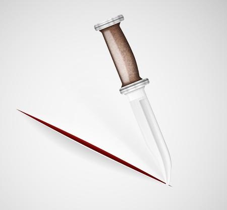 Cut a knife on a paper