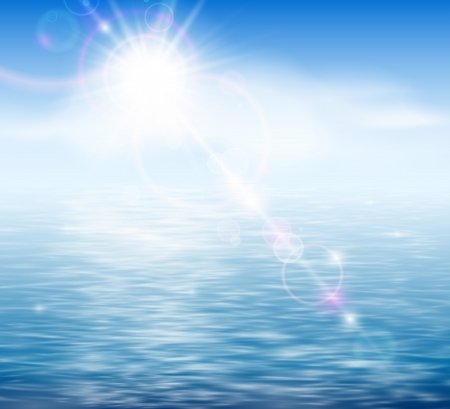 clear sky: Natural background with sunshine by the sea