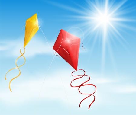 凧: 2 つの凧の飛行の空
