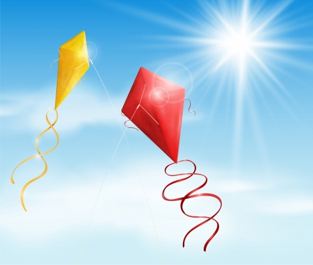 windy day: Two in the sky flying a kite Illustration