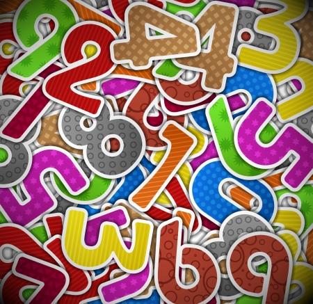 rekensommen: Achtergrond met kleurrijke aantallen papieren Eps 10