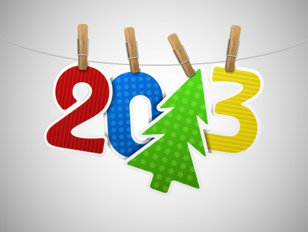 2013 year of paper on the clothespin  Eps 10 Vector