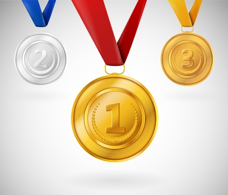 Set of three medals  Eps 10 Vector
