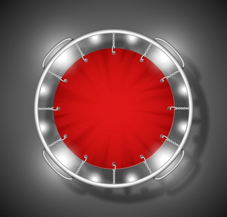 Realistic image of red trampoline on top  Eps 10 Vector