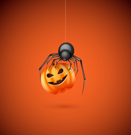 springe: Illustration of spider with pumpkin on the day of Halloween