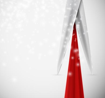 abertura: Fondo con las tijeras de corte de cinta de color rojo Eps 10