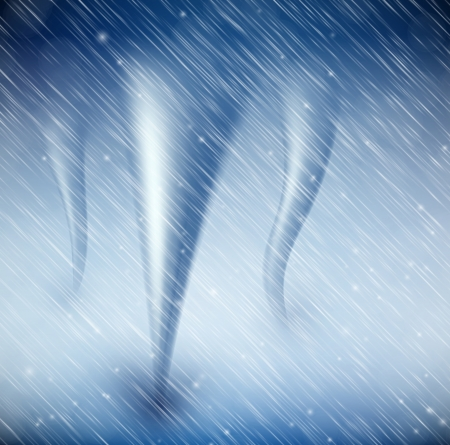 storm damage: Natural background with tornado and rain Illustration
