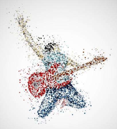 gitara: Abstract gitarzysta z kręgów Ilustracja