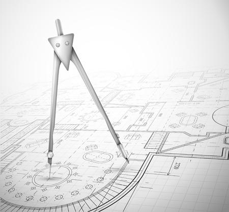 Bouwkundig plan met kompas