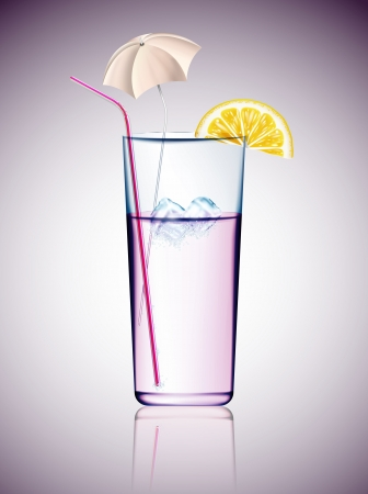 shaken: Cocktail with ice, umbrella, straw and lemon Illustration