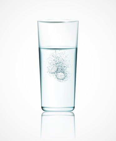 Two effervescent tablets in glass of water Vector