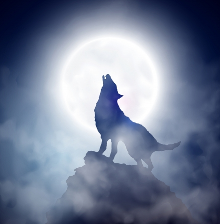 cliff: Wolf howling at the moon Illustration