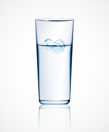 frozen drink: Realistic glass of water with ice