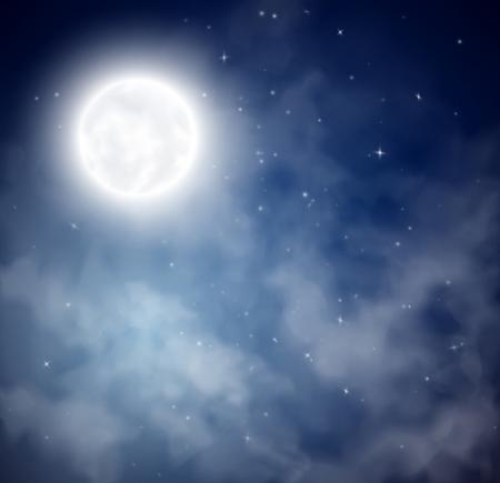 Cielo nocturno con la luna y las estrellas