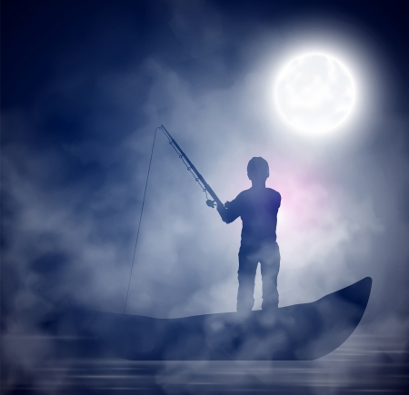 moon fish: Fisherman on the boat, night, fog