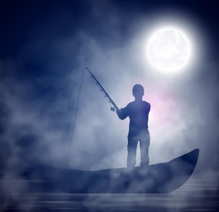pecheur: Pêcheur sur le bateau, nuit, brouillard