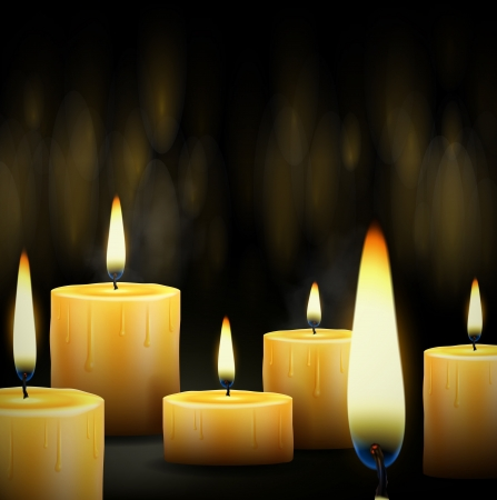 Set realistic burning candle   Vector
