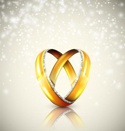 anillos de boda: Dos anillos de bodas en forma de corazón