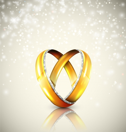gold rings: Two wedding rings in shape of heart   Illustration