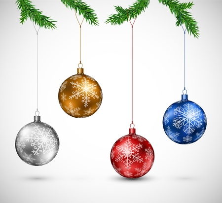 branch of a christmas tree: Christmas colorful balls hanging  Eps 10