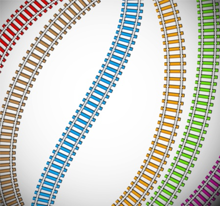 Background with colorful rails   Vector