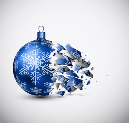 Broken blue Christmas ball   Vector