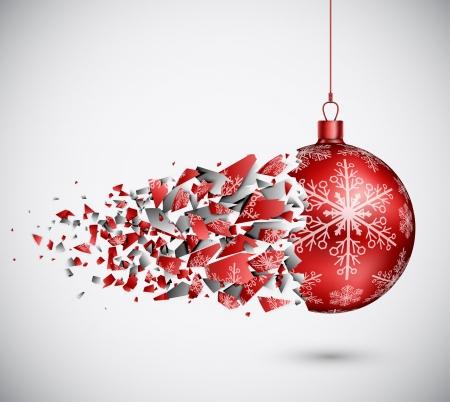 fragility: Broken red Christmas ball  Eps