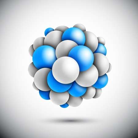 fission: Sphere in form of the molecule   Illustration