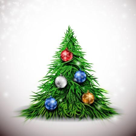 Christmas tree with balls.  Stock Vector - 16040840