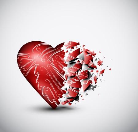 Corazón de cristal roto Ilustración de vector