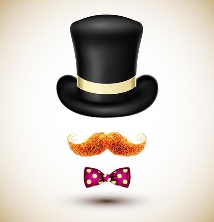 bigote: Accesorios mago sombrero, bigote y pajarita Vectores