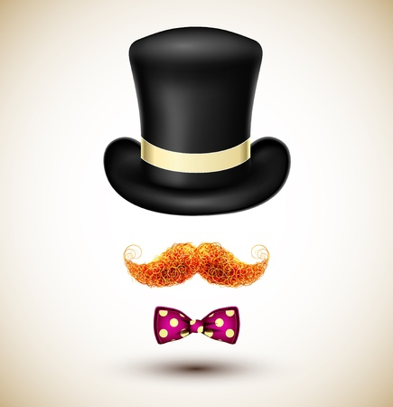 noeud papillon: Accessoires magicien chapeau, moustache et noeud papillon Illustration