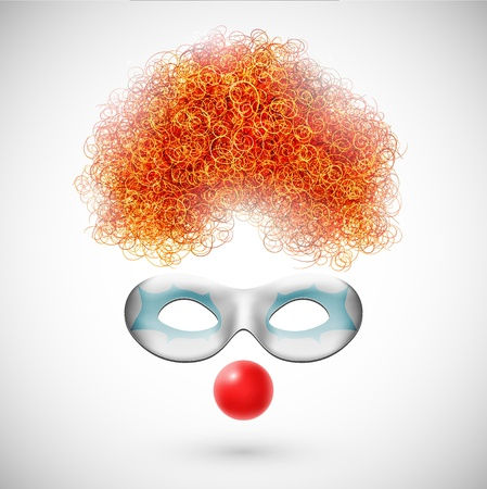 wig: Accessories clown  wig, mask and red nose  Illustration