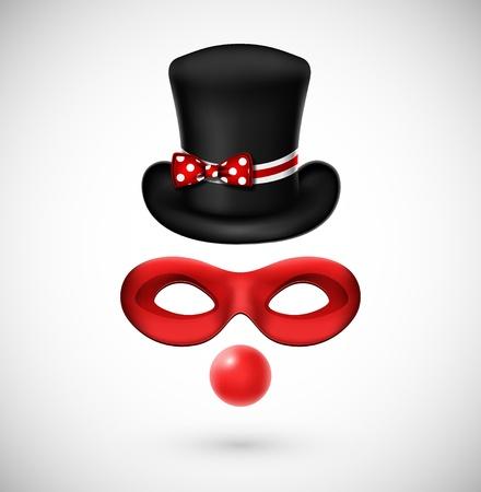Accesorios sombrero de payaso, máscara, y, nariz roja Ilustración de vector
