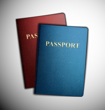abroad: Two passports, vector  Illustration