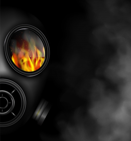 radiation protection: Gas mask the smoke from fire  Eps 10
