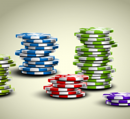 poker chip: Set of colorful casino chips