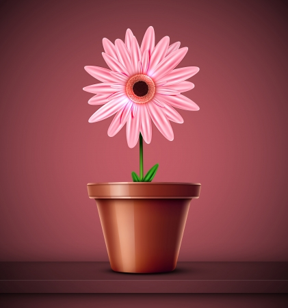 pot decoration: House flower in pot  Eps 10
