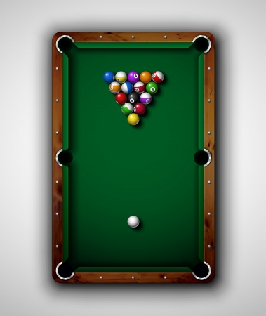 table set: Isolated billiard table, top view  Eps 10 Illustration