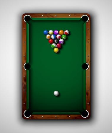 billiard: Isolated billiard table, top view  Eps 10 Illustration